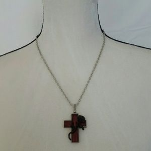 Alchemy Gothic Rose Accent Cross Necklace